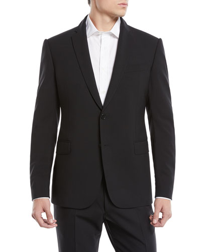 Men's Basic Two-Piece Wool Mouline Suit