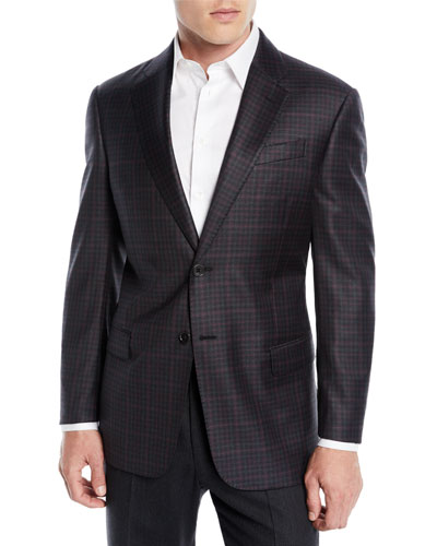 Men's Two-Tone Plaid Wool Jacket