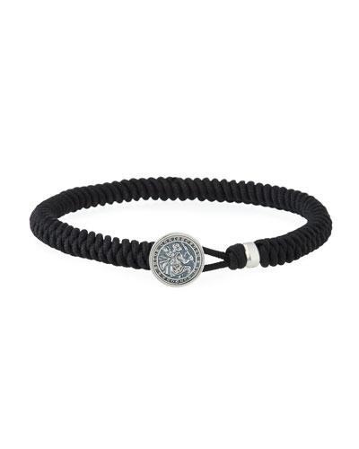Men's St. Christopher Button Woven Bracelet