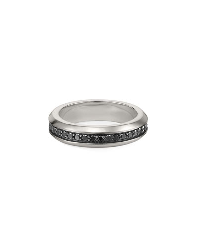 Men's Streamline Silver Band Ring with Black Diamonds (Larger Sizes)