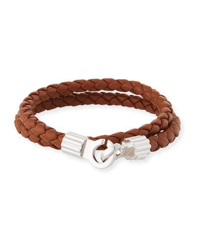 Men's Braided Napa Leather Bracelet, Brown/Silver