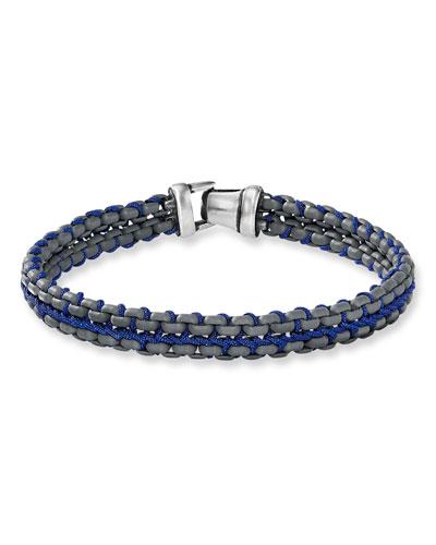 Men's 10mm Woven Box Chain Bracelet, Blue