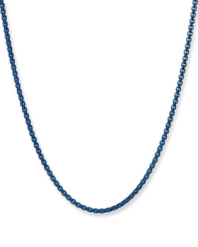 Men's Acrylic-Coated Stainless Steel Box Chain Necklace, 24