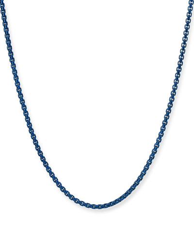 Men's Acrylic-Coated Stainless Steel Box Chain Necklace, 26
