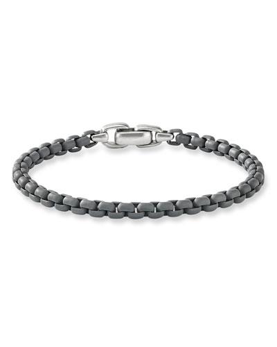 Men's Acrylic-Coated Box Chain Bracelet, Gray Metallic, 5mm
