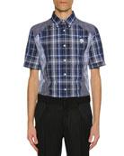 Alexander McQueen Men's Pieced Plaid Short-Sleeve Sport Shirt