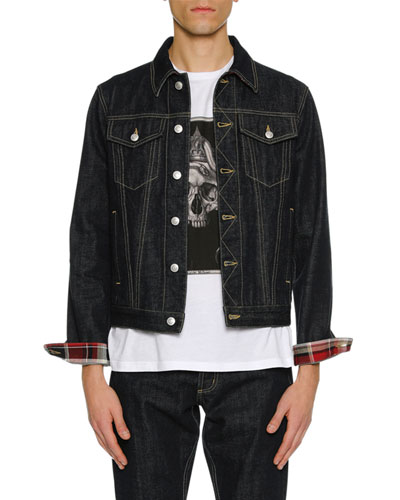 Men's Denim Jacket with Plaid Lining