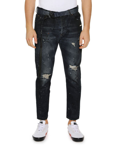 Men's Slim Low-Crotch Distressed Jeans