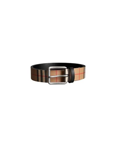 95d13ec660f4 ... coupon code quick look. burberry mens mark check leather belt 13cc7  83420