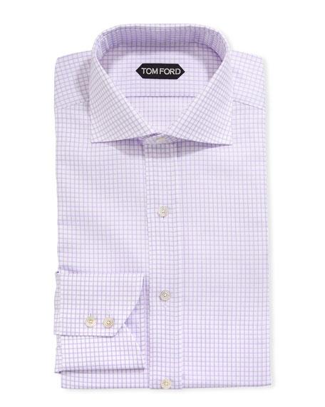 TOM FORD Men's Tattersall Cotton Dress Shirt