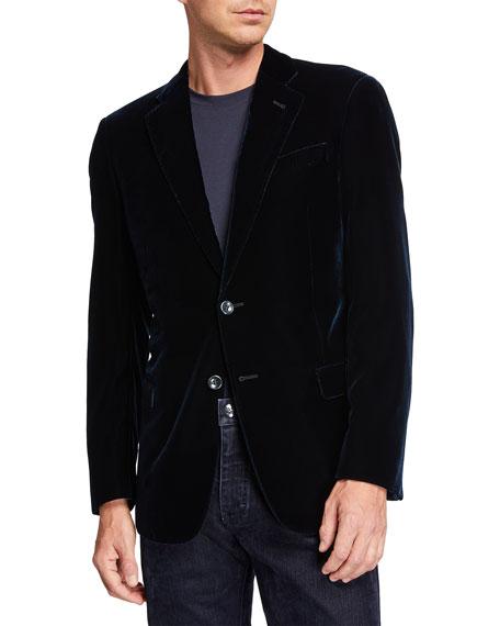 Giorgio Armani Men's Velvet Two-Button Sport Coat, Navy