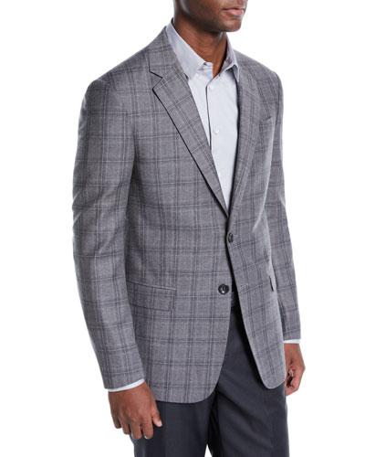 Men's Flannel Plaid Two-Button Jacket
