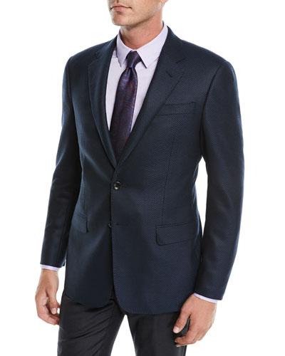 Men's Solid Melange Hopsack Two-Button Jacket