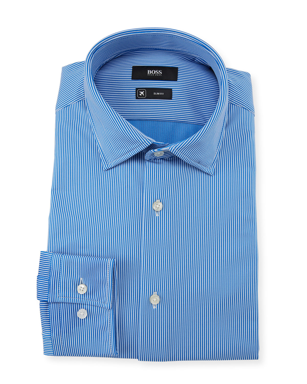 Men's Slim Fit Striped Performance Dress Shirt