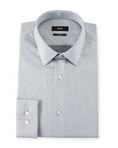 Men's Slim Fit Dotted Cotton Twill Dress Shirt