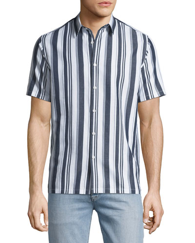 Men's Irving Wide Striped Short-Sleeve Sport Shirt