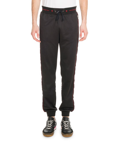 Men's Velvet-Trim Logo-Waistband Jogger Pants