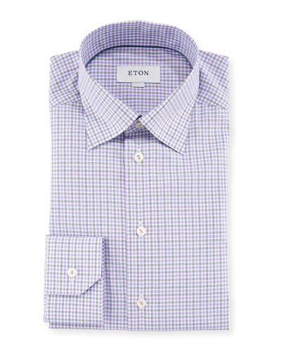 Men's Plaid Cotton Dress Shirt