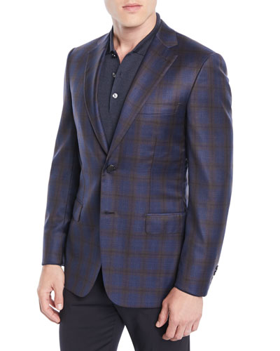 Men's Two-Tone Plaid Two-Button Jacket, Blue