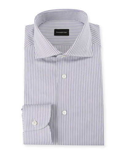 Men's Multi-Stripe Cotton Dress Shirt, Purple
