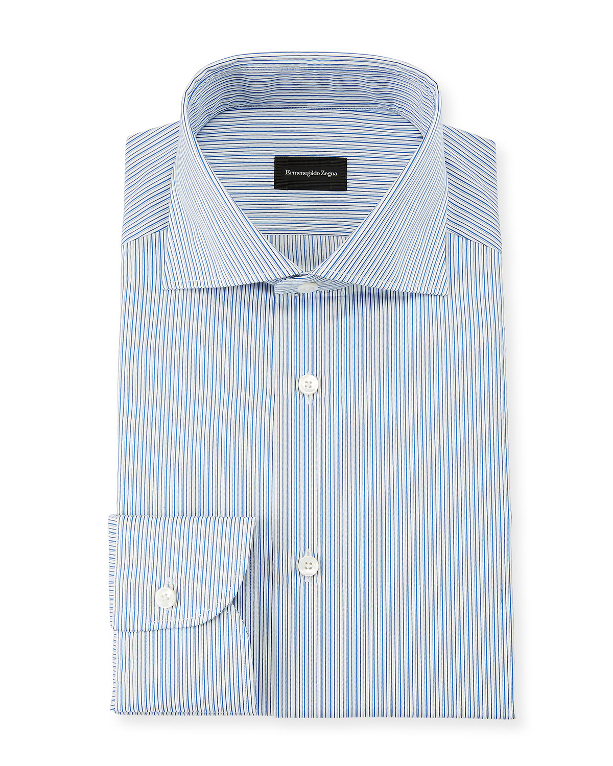 Men's Multi-Stripe Cotton Dress Shirt, Royal Blue