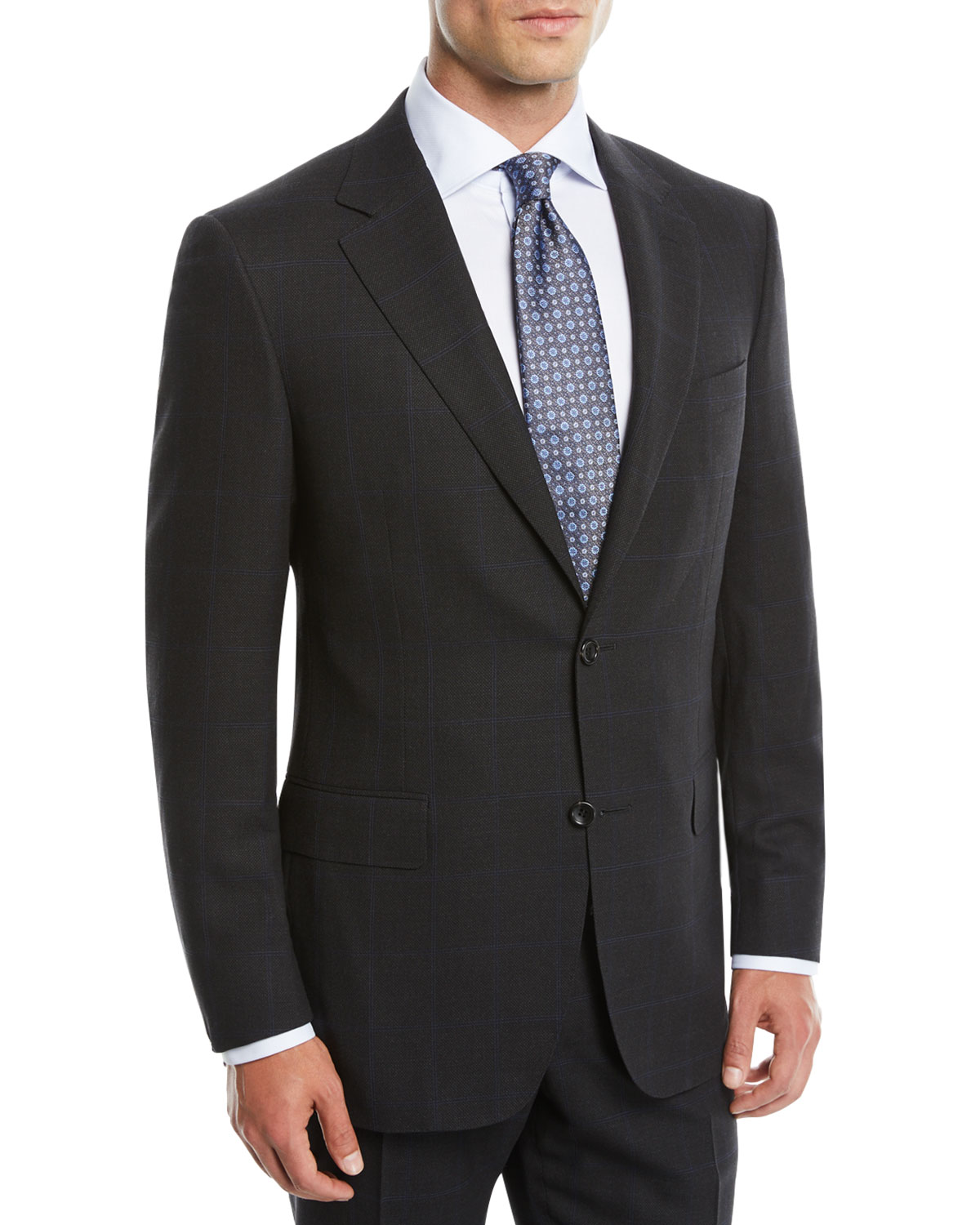 Men's Impeccabile Nailhead Windowpane Two-Piece Wool Suit