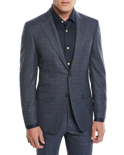 Men's 130s Wool Plaid Two-Piece Suit