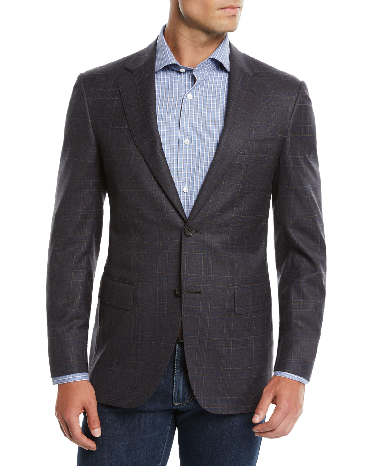 Men's Super 120s Wool Plaid Sport Coat Jacket