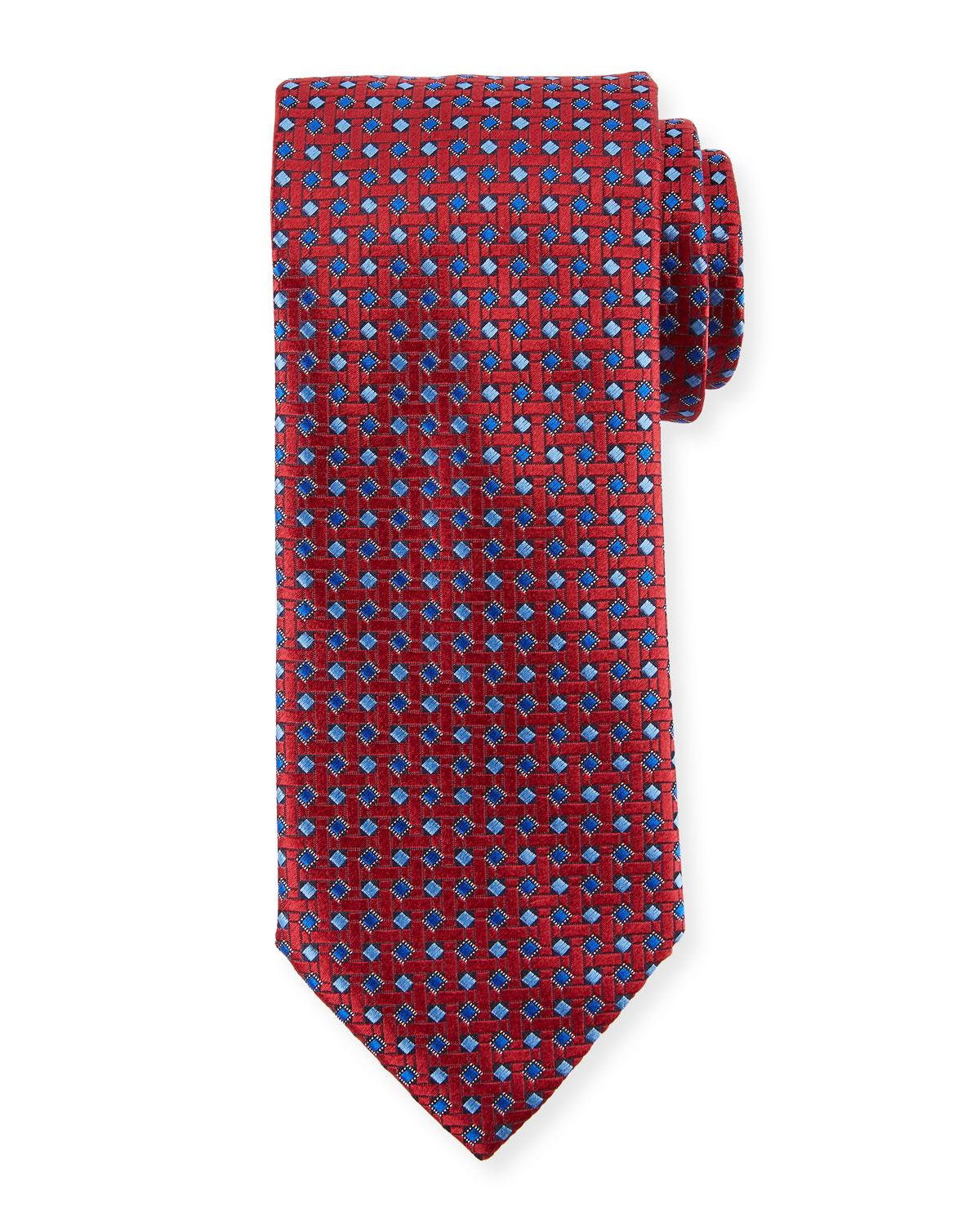 Lattice Box Silk Tie, Red