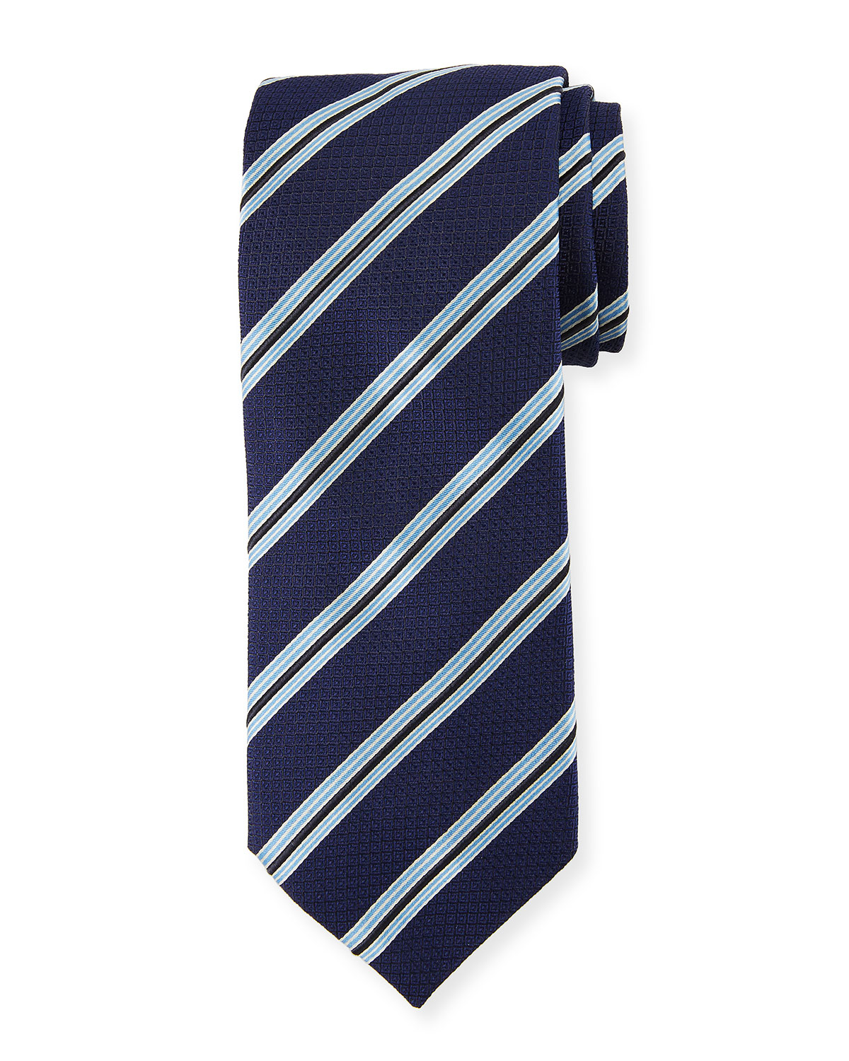 Textured Stripe Silk Tie, Navy/Blue