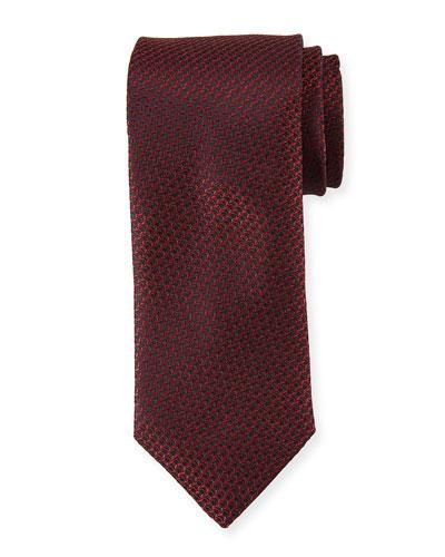 Textured Solid Silk Tie, Burgundy Red