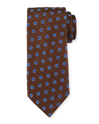 Textured Dot Silk Tie, Brown