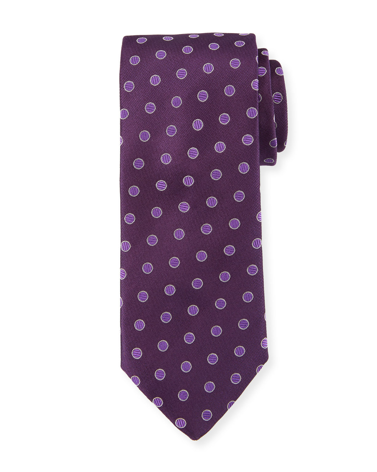 Textured Dot Silk Tie, Purple