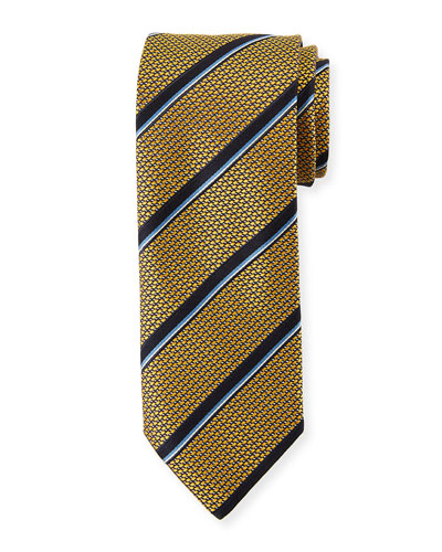 Satin Jacquard Striped Silk Tie, Yellow
