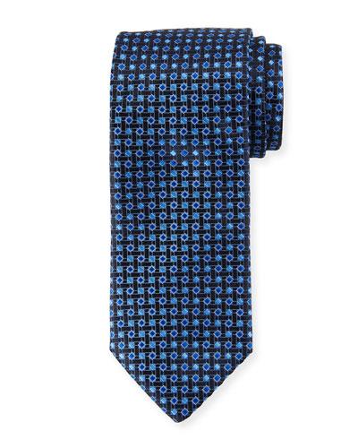 Lattice Box Silk Tie, Navy Blue