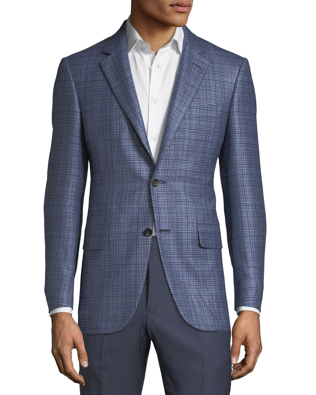 Men's Textured Plaid Cashmere-Blend Two-Button Jacket