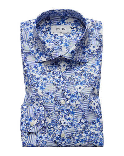 Men's Lisbon Slim-Fit Floral-Print Dress Shirt