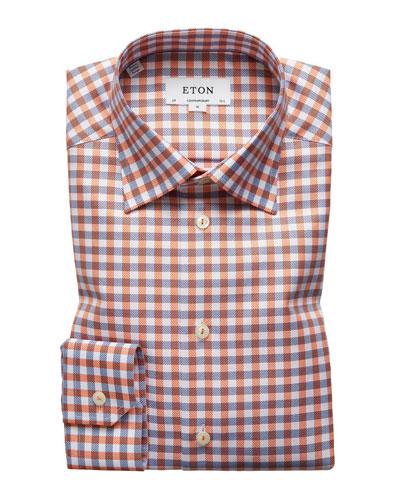 Contemporary-Fit Large-Tattersall Dress Shirt
