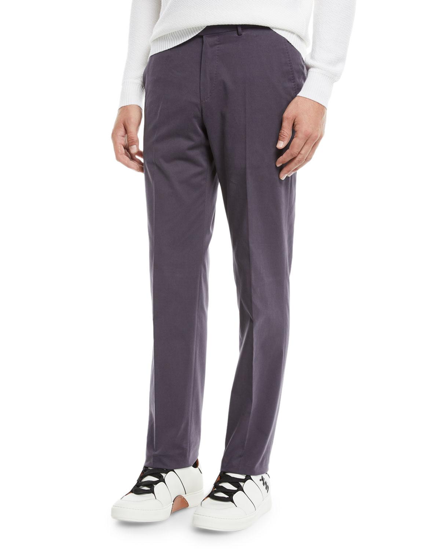 Men's Twill Flat-Front Trousers, Purple