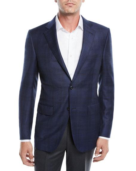 Ermenegildo Zegna Men's Tonal Plaid Wool Jacket, Navy/Blue