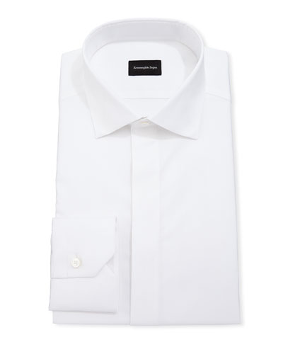 Men's Cotton/Silk Hidden-Button Formal Shirt
