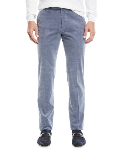 Men's Flat-Front Cotton/Cashmere Corduroy Trousers, Gray