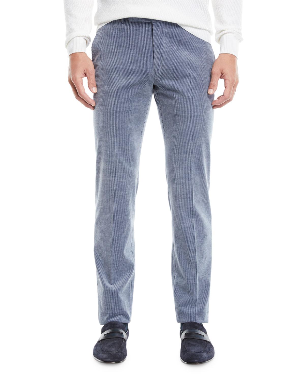 Men's Flat-Front Cotton/Cashmere Corduroy Trousers, Gray