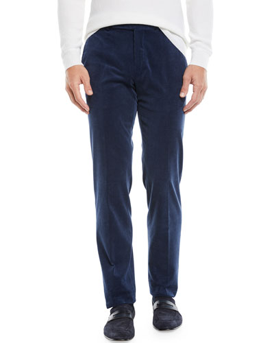 Men's Flat-Front Cotton/Cashmere Corduroy Trousers, Navy