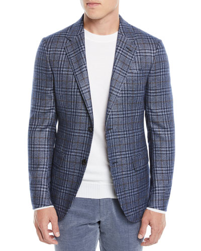 Men's Two-Tone Plaid Two-Button Jacket