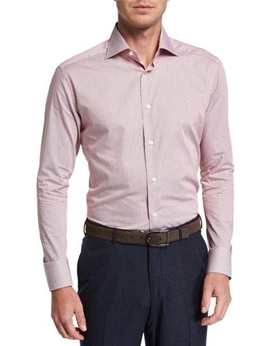 Men's Micro Stripe Long-Sleeve Collared Shirt