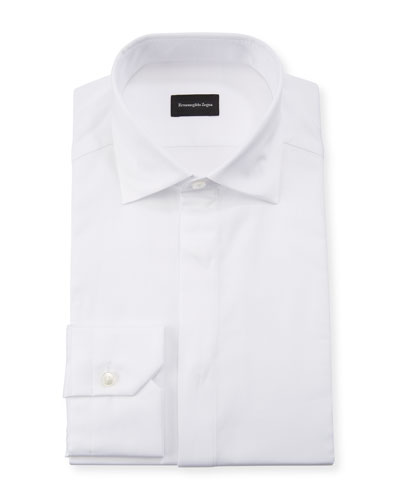 Men's Formal Cotton Dress Shirt with Covered Placket