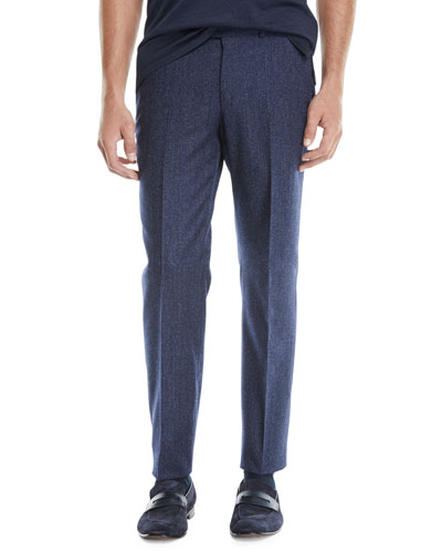Men's Melange Wool Straight-Leg Pants, Blue