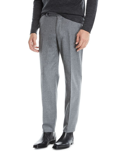 Men's Melange Wool Straight-Leg Pants, Gray