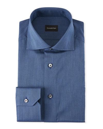 Men's Solid Twill Dress Shirt, Dark Blue